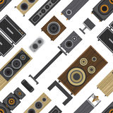 Different stereo acoustic systems seamless pattern Royalty Free Stock Images