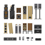Different stereo acoustic systems. Stock Images