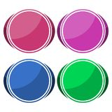 4 different sticker, circle shape. Vector icon Stock Image
