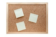 Different sticky notes on a cork board isolated Royalty Free Stock Photos