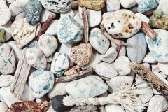 Different stone and marine wood textures for sea theme. Stock Photography