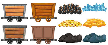 Different stone and mining carts Stock Images