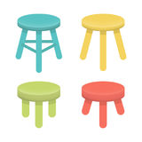 Different stool with three legs vector set. Royalty Free Stock Image