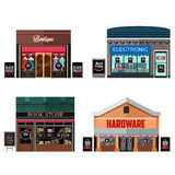 Different Stores with Black Friday Sale Signs Royalty Free Stock Photography