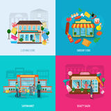 Different stores icons set Royalty Free Stock Photo