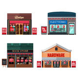 Different Stores with Sale Signs Royalty Free Stock Image