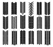 Different straight tyre imprints. Illustration in black on white Stock Image