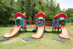 Different strange playthings. In a public park Royalty Free Stock Photography