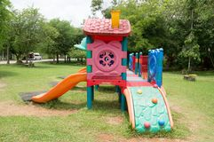 Different strange playthings. In a public park Royalty Free Stock Image