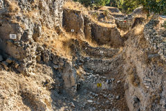 Different strata unearthed in ancient city Troy. Turkey Stock Image