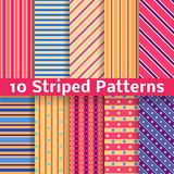 Different striped vector seamless patterns. 10 Different striped vector seamless patterns (tiling). Texture can be used for printing onto fabric and paper or Stock Photo