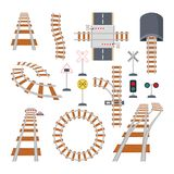 Different structural elements of railway. Vector collection in cartoon style stock illustration