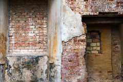 Different structures and textures of brick masonry and plaster i Stock Image