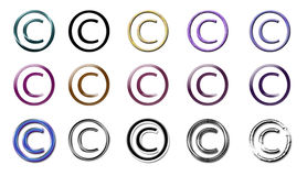 Different style copyright. 15 different styles of the copyright c with a white background, perfect if you want to set copyright on something Stock Image