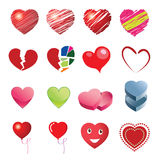 Different style heart icons Royalty Free Stock Photography