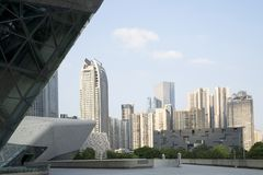 Different style modern buildings in the city Guangzhou Stock Photos