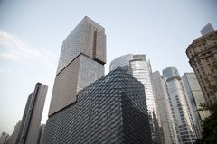 Different style modern buildings in Guangzhou sunset Royalty Free Stock Photography