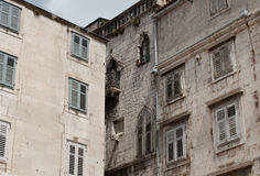 Different style of old architecture. Different style of old Venetian and Milanese architecture on building next to modern one in Split, Croatia Stock Image
