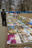 Different style paintings on the open ground for sale Royalty Free Stock Photos
