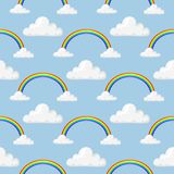 Different style rainbow color strips after rain optical sky effect vector seamless pattern. Royalty Free Stock Photos