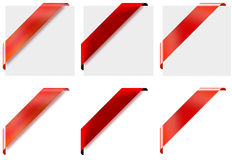 3 different style red corner ribbons Royalty Free Stock Images