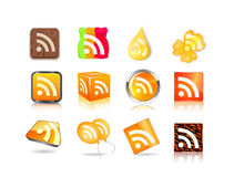 Different style of rss icon set Stock Photography