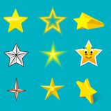 Different style shape silhouette shiny star icons collection vector illustration on blue background. Different style shape silhouette shiny star icons collection Stock Image
