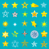 Different style shape silhouette shiny star icons collection vector illustration on blue background. Different style shape silhouette shiny star icons collection Stock Images
