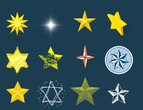 Different style shape silhouette shiny star icons collection vector illustration on blue background. Different style shape silhouette shiny star icons collection stock illustration