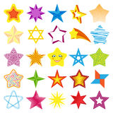 Different style shape silhouette shiny star icons collection vector illustration Stock Images