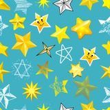 Different style shape silhouette shiny star icons collection vector illustration seamless pattern background.  Royalty Free Stock Photography