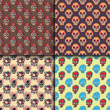 Different style skulls faces seamless pattern vector illustration halloween horror style tattoo. Stock Photo