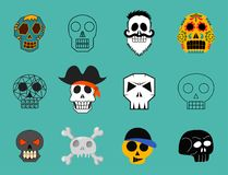 Different style skulls faces vector illustration halloween horror style tattoo anatomy art. Stock Photos