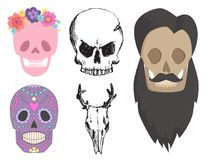 Different style skulls faces vector illustration halloween horror style tattoo anatomy art. Stock Image