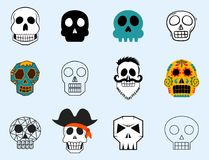 Different style skulls faces vector illustration halloween horror style tattoo anatomy art. Stock Photo