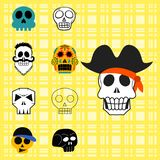 Different style skulls faces vector illustration halloween horror style tattoo anatomy art. Royalty Free Stock Images
