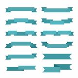 12 different styles of blue colored ribbons. Set of 12 different styles of blue decorative ribbons with gradient Stock Photography