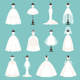 Different styles of brides dresses. Vector illustration in cartoon style vector illustration