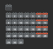 Different styles of calendar web icons. Collection Royalty Free Stock Photos