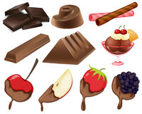 Different styles of chocolate dessert Stock Image