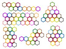 Different Styles and Colors of Hexagon Label Stock Image