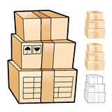 Different styles of Delivery Box Sets. Product and Distribution Royalty Free Stock Photography