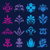 Different styles of Flower and Plant Symbol Sets. Original Patte Stock Photos