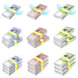 Different styles of Korea Paper Money Sets. Economy and Finance Royalty Free Stock Photos