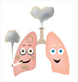 Different styles of life. Both lungs have different lifestyle and so different health condition Royalty Free Stock Photography
