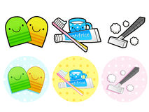 Different styles of Toiletries Sets. Household Items Vector Icon Royalty Free Stock Photography