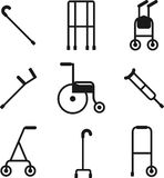Different styles of walkers. Flat style color  symbols iso. Wide variety of walkers for patients to use to assist them with their mobility Royalty Free Stock Images