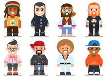Different subcultures man in trendy flat style. Royalty Free Stock Image