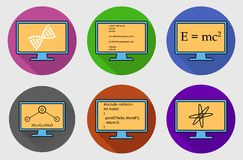 Different Subject Colorful button Icon Set. Physics, Chemistry, Genetic Engineering and Computer Science symbols are on monitor stock illustration