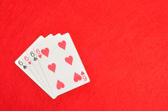 The different suit of the number 6 cards Royalty Free Stock Images